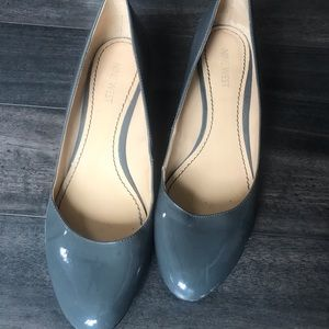 NINE WEST grey wedge heels.